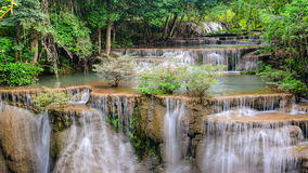 Time lapse of Huay Mae Khamin waterfall, famous natural tourist attraction in stock video footage