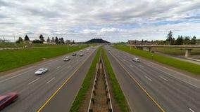 Time lapse of I-205 freeway traffic heading north into Portland Oregon 4k Uhd stock video footage