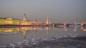 Time lapse of Ice drift on Neva river in St. Petersburg, Russia stock video