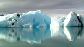 Time lapse of icebergs in the Jokulsarlon glacier lagoon in Iceland stock video footage