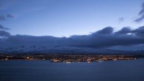 Time lapse of Icelandic city Akureyri at night stock video footage