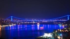 Time Lapse of II. Bosporus Bridge in Istanbul stock video footage