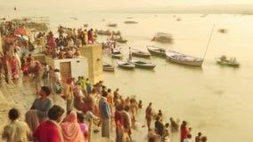 Time lapse Indian pilgrims rowing boat in sunrise. Ganges river at Varanasi India. Time lapse Indian pilgrims rowing boat in sunrise, Ganges river at Varanasi stock video