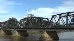 Time lapse of Iron Bridge across Ping river. stock video footage