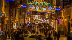 Time Lapse of Istiklal Street stock video footage
