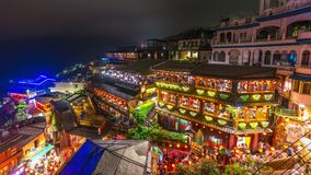 Time lapse of Jiufen in the evening with many tourists
