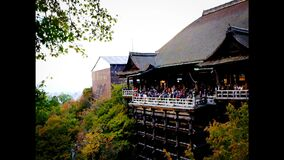 Time lapse of red fall leaves autumn at Kiyomizu-dera temple in Kyoto, Japan. Time lapse 4K of red fall leaves autumn at Kiyomizu-dera temple in Kyoto, Japan stock footage