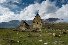 Time Lapse 4K. Russia, the Caucasus Mountains, North Ossetia, the formation of clouds. The ancient settlement with thousand year stock footage