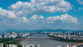 Time lapse 4k of Seoul city at han river in South Korea.Zoom in