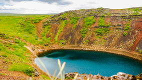 Time lapse of Kerid volcanic crater lake stock video footage