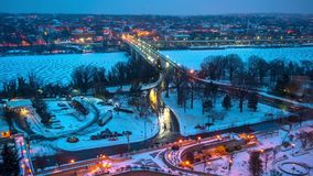 Time lapse of Key bridge in Washington DC at winter dawn. View on Key bridge at dawn: timelapse of night to day transition, Washington DC, USA stock footage