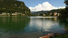 Time Lapse of lake Ceresio in Lavena Ponte Tresa, Italy stock video footage