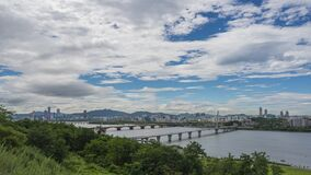 Time lapse Landscape of Seoul City, modern building and han river