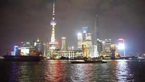Time lapse large ship passing Shanghai at night,Pudong Lujiazui economic center. Gh2_06868 stock footage