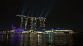 Time lapse of laser light show at Marina Bay Sands Hotel by Singapore River Royalty Free Stock Photos