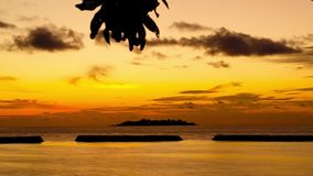 Time-lapse of late sunset at Maldives stock footage