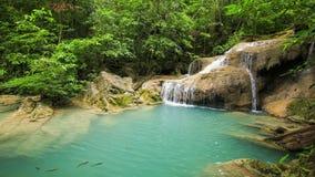 Time-lapse of Level 1 of Erawan Waterfall with Neolissochilus stracheyi fish in Kanchanaburi Province, Thailand stock video footage