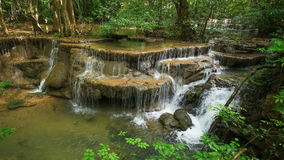 Time-lapse of Level 6 of Huay Mae Kamin waterfall in Khuean Srinagarindra National Park stock video footage