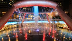 Time-lapse of Light show at the Fountain of Wealth, it is the famous place in Suntec City, Singapore stock video