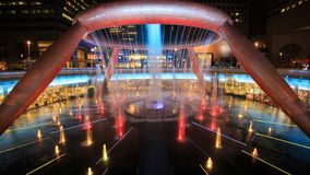 Time-lapse of Light show at the Fountain of Wealth, it is the famous place in Suntec City, Singapore stock video footage