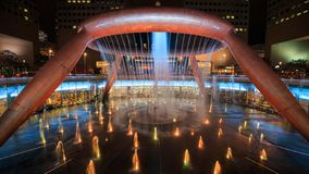 Time-lapse of light show at the Fountain of Wealth, it is the famous place in Suntec City, Singapore stock footage