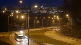 Time lapse, the light trails of city traffic on the building background. Time lapse, the light trails of city traffic on the building background in Vilnius stock footage