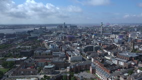 Time lapse of Liverpool city center aerial view 4K. Time lapse of Liverpool city center aerial view on sunny summer day 4K stock video