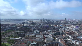 Time lapse of Liverpool city center aerial view 4K. Time lapse of Liverpool city center aerial view on sunny summer day 4K stock footage