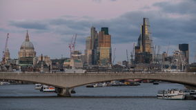 Time lapse London skyline at sunset with The Shard, St Pauls, Southwark, London stock video