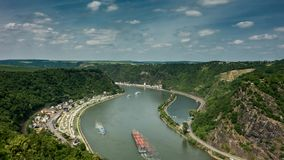 Time lapse of Loreley above the rhine valley stock footage