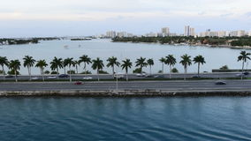Time Lapse of Miami Causeway with Traffic stock video