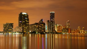 Time lapse of the Miami skyline at dusk stock video