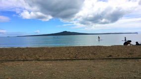 Time lapse of Mission Bay BeacH in Auckland New Zealand stock footage