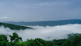 Time Lapse Mist Moving Over The Green Mountain. stock footage