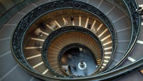 Time Lapse of the modern Bramante spiral stairs of the Vatican Museums, Rome , Italy . The double helix staircase is th