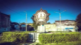 Time lapse. Monument to the victory in the form of a star in the center of Rostov-on-Don when cars are traveling