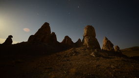 Time Lapse of Moon Rise at Tronas Pinnacles California Desert stock video footage