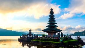 Time lapse in the morning of Pura Ulun Danu Bratan, Bali. stock video footage