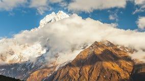 Time lapse. The movement of clouds near the majestic Mount Kangtega. Himalayas. Sagarmatha National Park, Nepal.  stock video