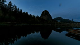 Time Lapse Movie of Beacon Rock State Park along Columbia River Gorge in Washington State at Sunset into Blue Hour 1920x1080. Time Lapse Movie of Beacon Rock stock video footage