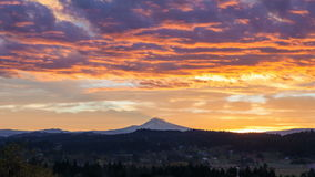 Time Lapse Movie of Colorful Sunrise and Moving Clouds over City of Happy Valley with Mount Hood in Oregon Closeup 1080p stock video footage