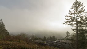 Time Lapse Movie of Fast Moving Clouds and Low Fog over City of Portland in Oregon One Early Morning 1080p stock video