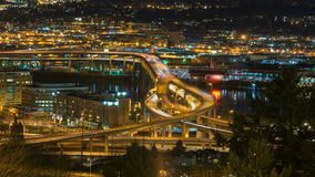 Time Lapse Movie of Long Exposure Traffic Light Trails on Marquam Bridge Across Willamette River in Portland Oregon 1080p stock footage