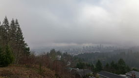Time Lapse Movie of Moving Clouds and Low Fog over City of Portland in Oregon One Early Morning 1080p stock video footage