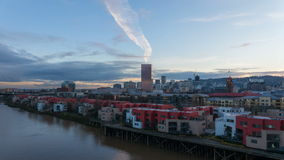 Time Lapse Movie of Moving Clouds Over Downtown City Condominiums Apartments and Office Buildings along Willamette River in Portla stock video