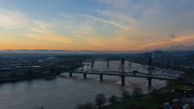 Time Lapse Movie of Sunrise Over Downtown City of Portland Oregon with Bridges and Moving Clouds One Early Morning 1080p stock video