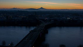 Time Lapse Movie of Sunrise Over Downtown City of Portland Oregon with Morrison Bridge and Moving Clouds One Early Morning 1080p stock video footage