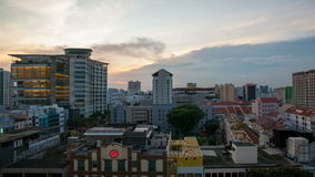 Time lapse movie of sunset over Bugis area in Singapore. Stock Image