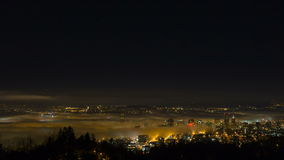 Time Lapse Movie of Thick Dense Rolling Fog Over Downtown City of Portland Oregon with Snow Covered Mount Hood 1080p stock video