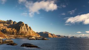 Time lapse - moving clouds over the coastline of the Lofoten stock video footage